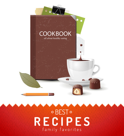 Cooking background with cookbook and coffee cup