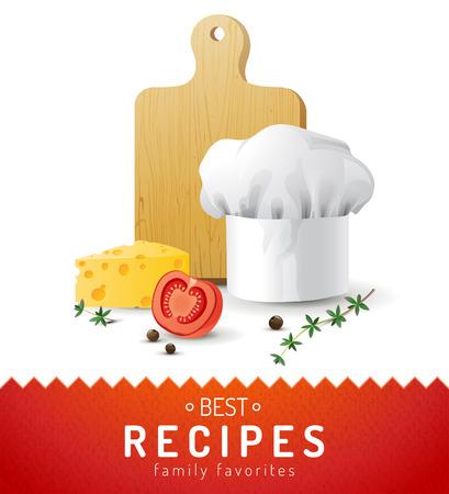 Koken achtergrond met chef-kok hoed, snijplank, kaas en de helft van tomaat Vector Illustratie