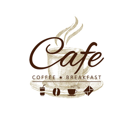 cafe logo with hand drawn coffee cup  Vector