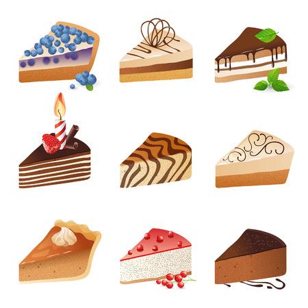 9 cake slices over white background Vector