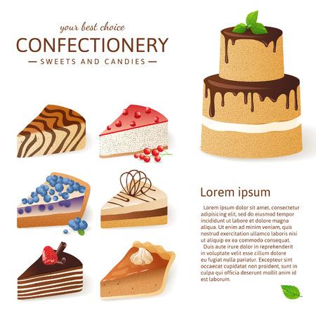 porcion de torta: 9 rebanadas de pastel sobre fondo blanco Vectores