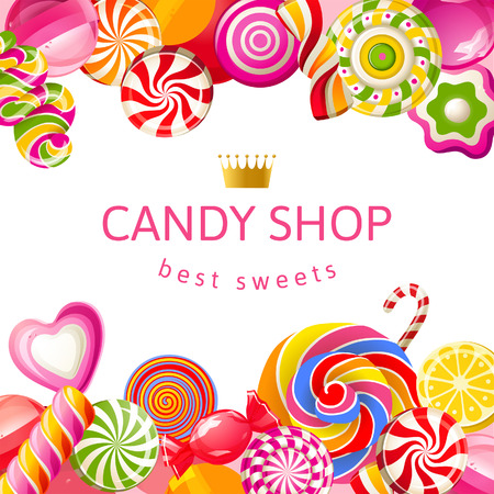 candy cane: Bright background with candies