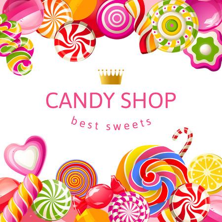 paletas de caramelo: Fondo brillante con dulces