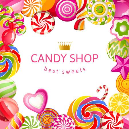 キャンディーと明るい背景  イラスト・ベクター素材