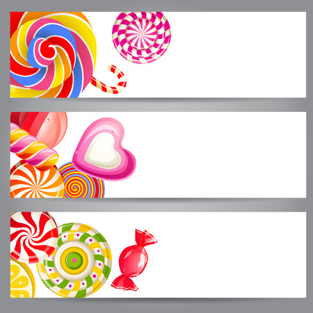3 bright banners with candies Vector