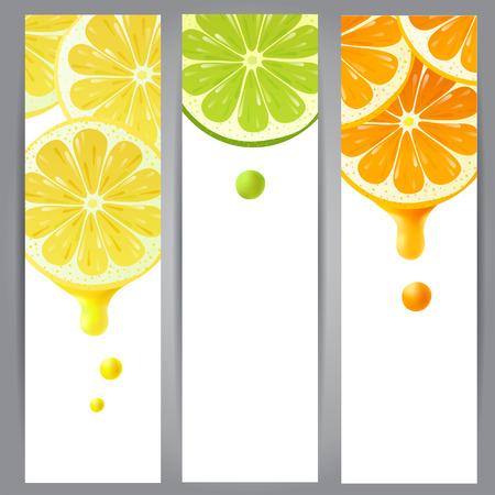 3 verticale banners met citroen, limoen en oranje Stock Illustratie