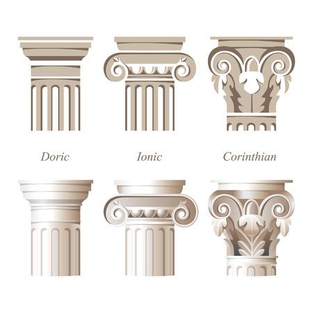 서로 다른 스타일의 양식과 사실적인 열 - 이온, 도리스, 코린트 - 당신의 건축 설계를위한 일러스트