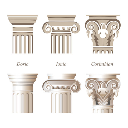 ancient greek: stylized and realistic columns in different styles - ionic, doric, corinthian - for your architectural designs Illustration