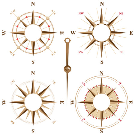 Vintage compass icons with place for your text inside Vector