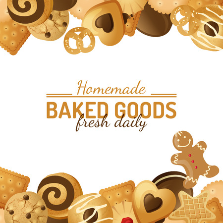 bright background with different cookies Vector