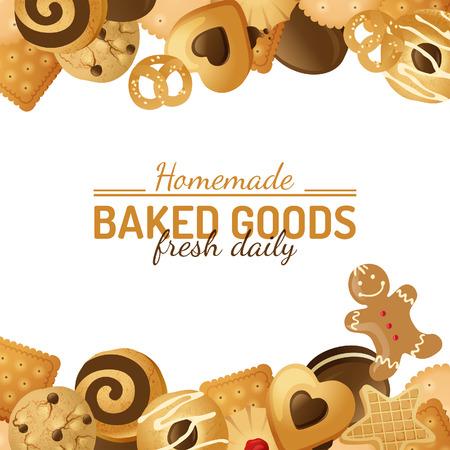 fond lumineux avec différentes sortes de biscuits