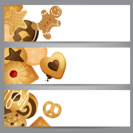 3 horizontal banners with cookies Vector