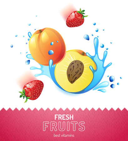 Bright fruit background with peach, strawberry and water splashes Vector