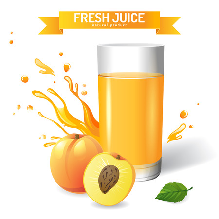 Fresh juice background with peach and mint Vector
