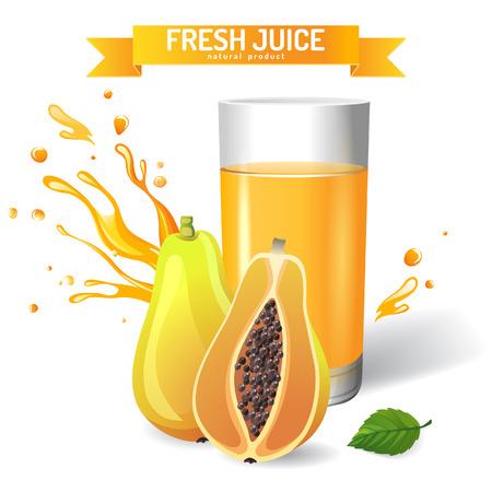 papaya: Fresh juice background with papaya and mint Illustration