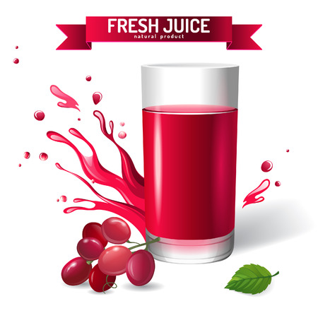 Fresh juice background with grapes and mint Vector