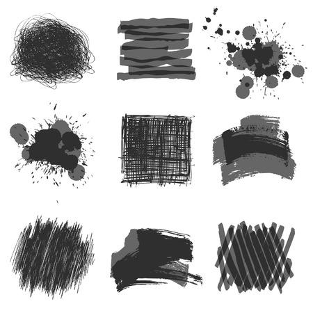 grayscale hand drawn design elements Illustration