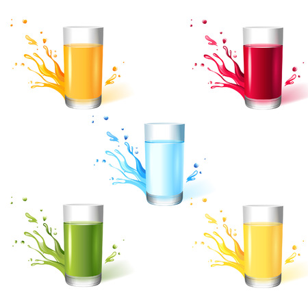 5 glasses with different drinks Vector
