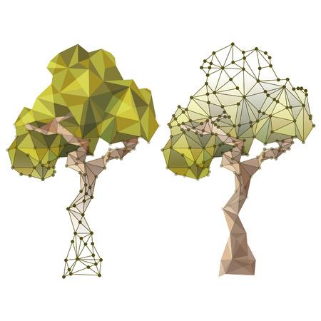 低ポリゴン スタイルのツリー
