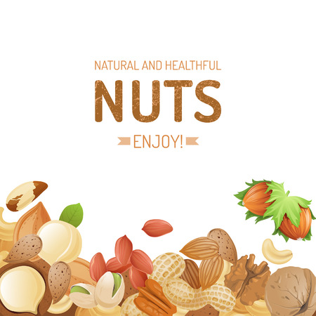 Bright background with different nuts