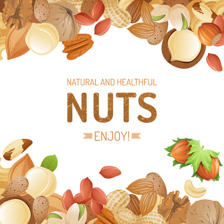 walnut: Bright background with different nuts