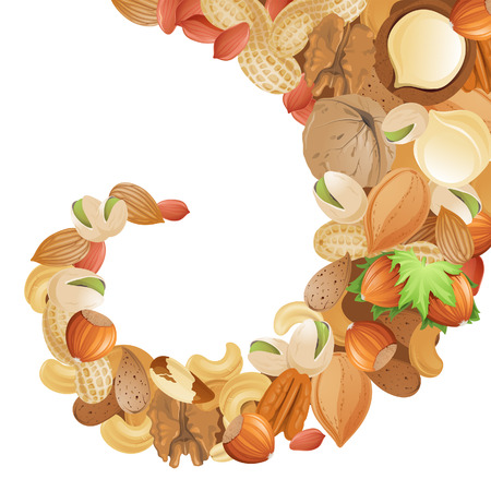 pecan: Bright background with different nuts