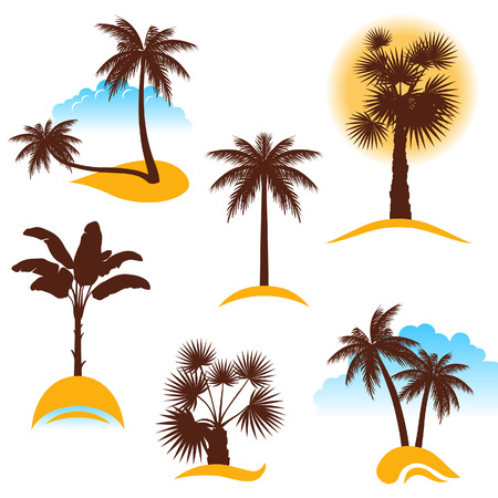 beach front: stylized palm trees
