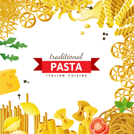 Different pasta types, tomatoes, mint and spices over white background Illustration