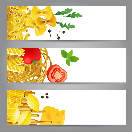 3 banners with different pasta types, tomatoes, mint and spices  Vector