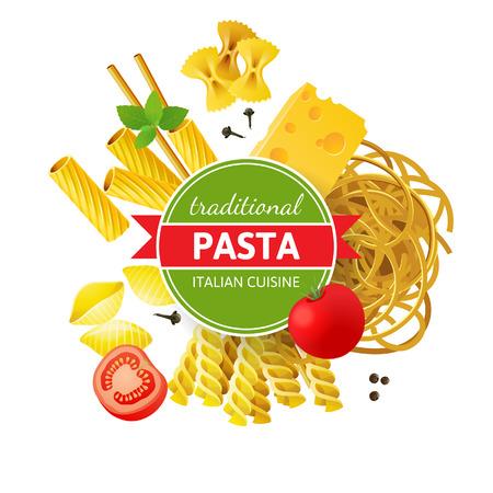 Diversi tipi di pasta, pomodori, menta e spezie su sfondo bianco