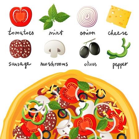 dinner food: Pizza e ingredientes para la pizza Vectores