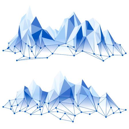neve montagne: Intervallo di montagna in basso stile poly Vettoriali