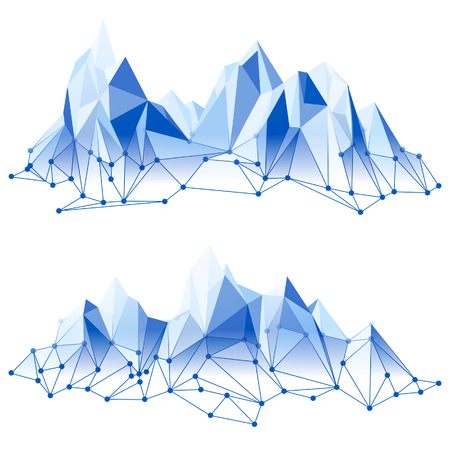 Mountain range in low poly style Vector