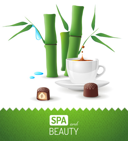 Spa and beauty background with tea cup and bamboo Stock Vector - 26768880