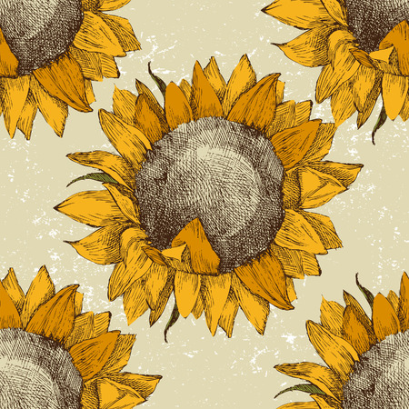 sunflower drawing: seamless vintage ornament with sunflowers