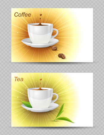 2 bright cards with coffee and tea cups Vector
