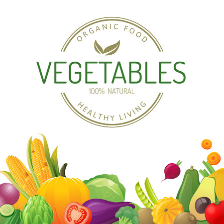 Bright background with vegetables Vector