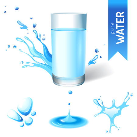 Glass of water and water splash icons