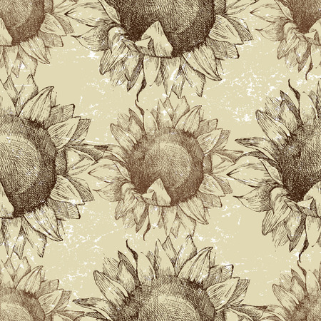 seamless vintage ornament with sunflowers Vector