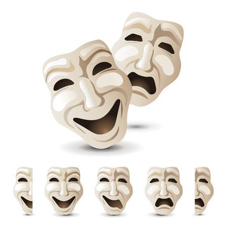theater maskers pictogrammen Stock Illustratie