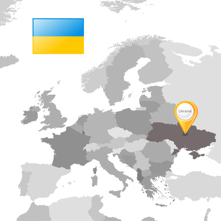 color separation: Ukraine and Ukrainian flag on the European map  Illustration