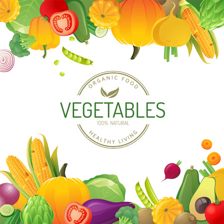 Bright background with vegetables Ilustracja