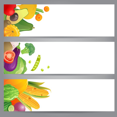 raw potato: 3 bright banners with vegetables