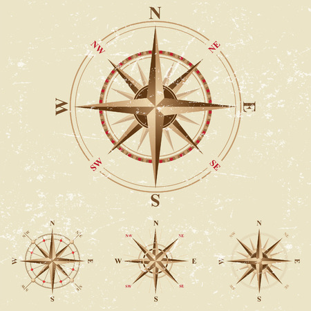 nautical vessel: 4 compases icons in vintage style