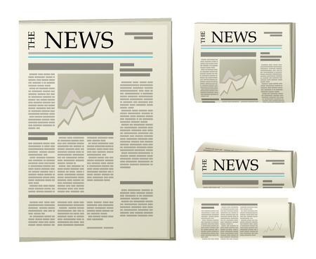 4 newspaper icons over white background