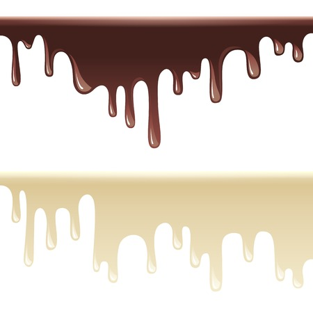 2 black and white melting chocolate borders Vector