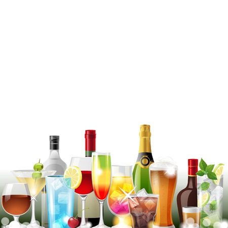 Alcohol cocktails and bottles over white background - vector Vector