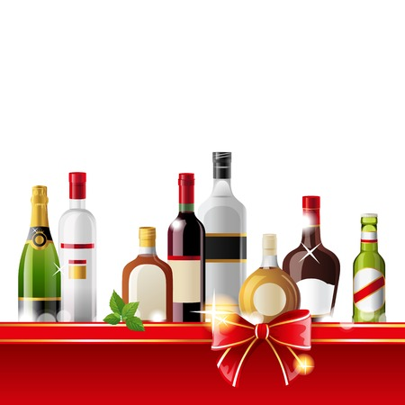 Alcohol drinks border over white background - vector Vector