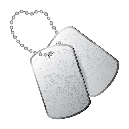 Dog tags isolated on white background Çizim