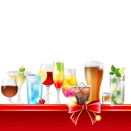 Alcohol cocktails border over white background - vector Vector